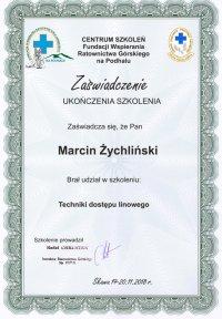 certyfikat szkolenia techniki dostępu liniowego