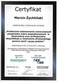 certyfikat praktyczne zastosowanie nowoczesnych preparatów mikro kapsułkowych w dezynsekcji oraz profesjonalna dezynfekcja w zwalczaniu afrykańskiego pomoru świn