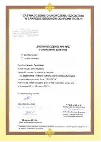 certyfikat stosowanie środków ochrony roślin metoda fumigacji