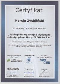 certyfikat zabiegi deratyzacyjne wykonane rodendycydami